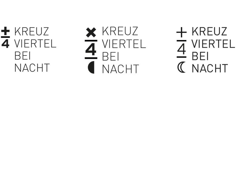 Zahlreiche Versionen führten letztendlich zur Wort- und Bildmarke für die Veranstaltung »Kreuzviertel bei Nacht«