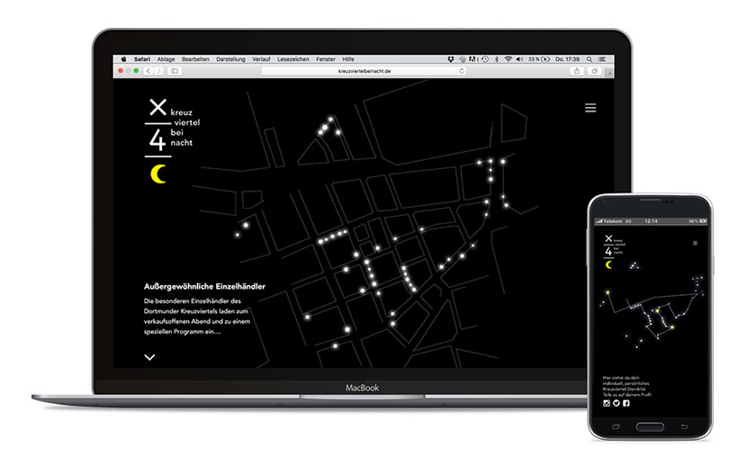 Das Besondere an der mobilen Website – Erstelle Dir durch den Weg, den Du  durch das Kreuzviertel nimmst, Dein eigenes (Kreuzviertel)Sternbild!