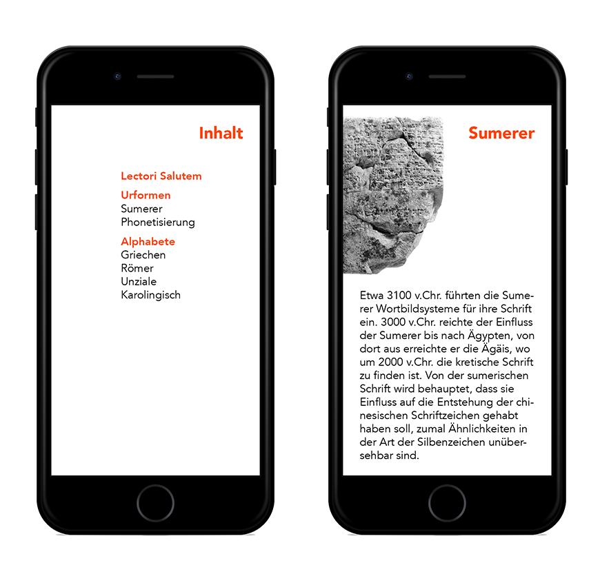 Ein eBook über Schriftgeschichte – Inhalt und Kapitelbeginn