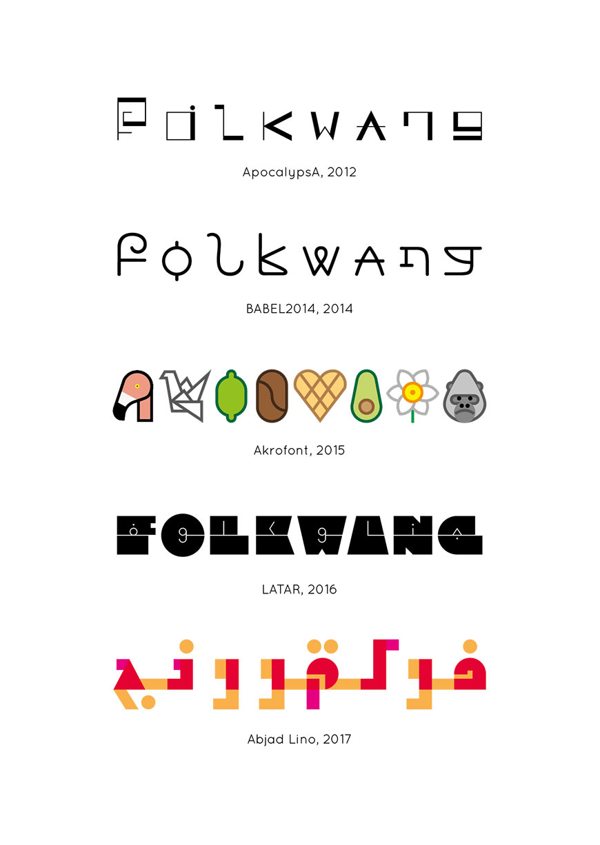 »Folkwang« written with the five fonts, created within the project »Global Alphabet«